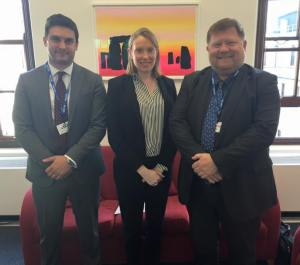 UK Deaf Sport Trustee Piers Martin, Minister for Sport Tracey Crouch MP, Craig Crowley MBE.